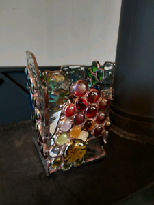 Stunning stained glass candle holder