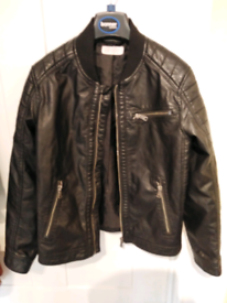 Boys H&M Leather Look Jacket Age 8-10