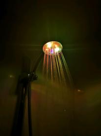 Multi colour LED changing colour shower head