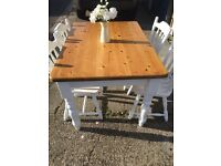 Farmhouse dining room table and four solid chairs