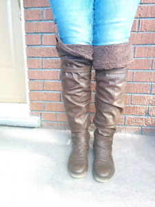 Slouchy thigh boots