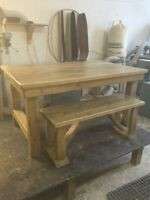 Rustic Harvest table with benches