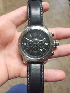 Fossil Logan mens chronograph watch with leather band