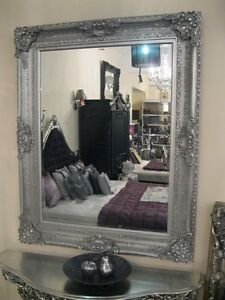 VERSACE-SILVER-ORNATE-WALL-BEVELLED-FRENCH-WOOD-OVERMANTLE-MIRROR-4FT-x-3FT