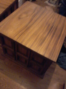 2 solid teak end tables