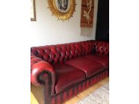 Red Oxblood Chesterfield 3 seater sofa