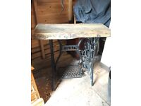 Singer sewing machine Treadle with oak table top. Side, console or or hall