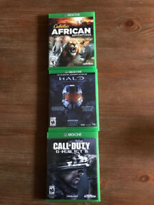 jeux Xbox One: Halo,  Call of Duty Ghosts et Cabela's african ad