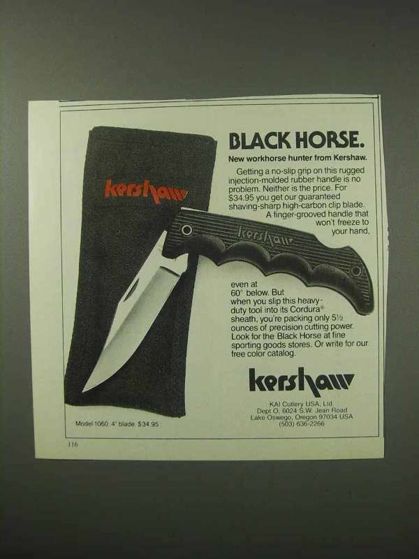 1984 Kershaw Black Horse Knife Ad - Workhorse Hunter