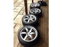 18 inch Rays racing alloys - 350z wheels / rims - Nissan, BMW - Bridgestone tyres