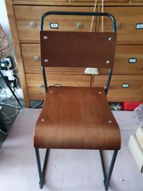 Bauhaus Metal Stackable Chair, Matte Black