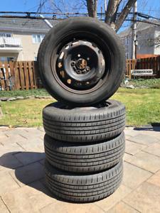 4 pneus d'été avec roues d'acier pour Mazda 3 - 15 po
