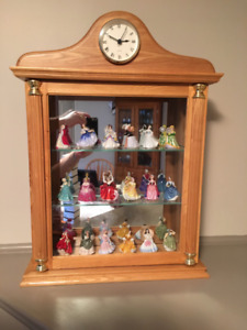 18 Royal Doulton Miniature Ladies with Display Cabinet And Clock