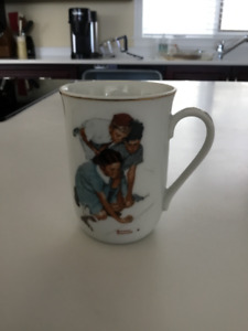 Norman Rockwell Gold Rimmed Collector Coffee Cups