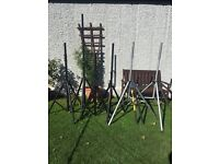 Job lot of speaker stands / poles , light stands and keyboard stands
