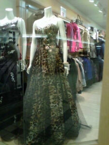 cheetah  print grad dress