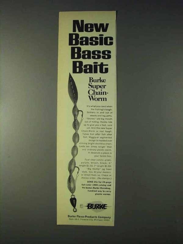 1969 Burke Super Chain-Worm Ad - Basic Bass Bait