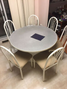White grey Dining table set with 6 chairs