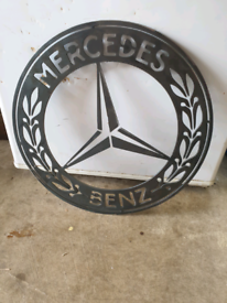 Mercedes-Benz Big Steel Badge Plaque Sign Wall Art