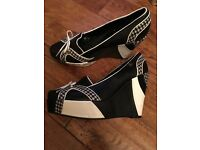 Ben Sherman's black and white tartan wedge shoes size 6