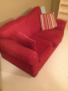 Good Condition Red Chenille Loveseat