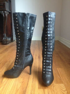 Black, tall high heel laced boots (fits 7.5/8) AND dress size 10