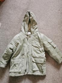 Boys corduroy light green duffle coat age 3-4