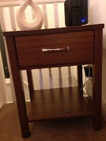Walnut small console table with draw