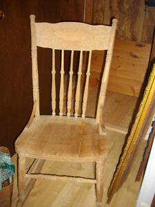 SOLID ANTIQUE PINE PRESS BACK ROCKING CHAIR