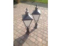 Pair of Reclaimed Copper Victorian Street Lights, Vintage Street Lanterns