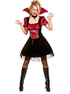 Blood Lust Vampire 6-24 Ladies Halloween Fancy Dress Women's Vampiress Costume