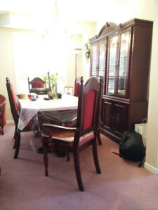 Dining Table Set with Six Chairs and Hatch Buffet