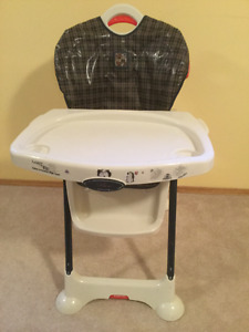 High Chair tilts back for sleeping child, height adjustable