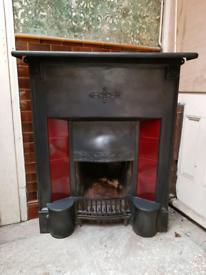 Original art nouveau cast iron fireplace