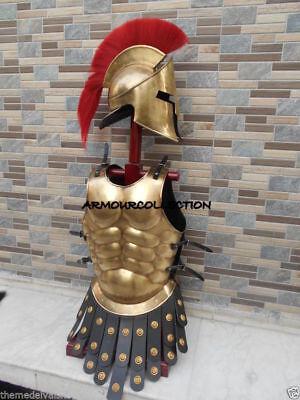 300 Helmet Antique Muscle Armour Suit Greek Movie Roleplay Spartan Helmet w Red