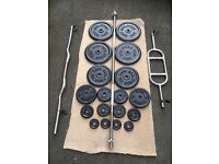 77kg CAST IRON WEIGHT PLATES AND 3 BARBELLS