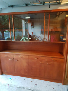 teak wall unit with glass
