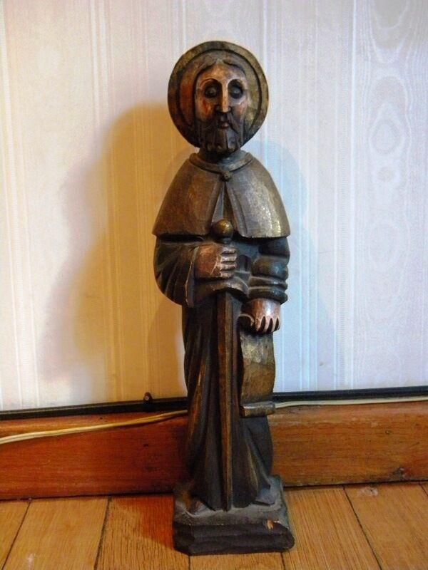 Antique Wooden Statue Figure Shrine St Elias Carved Handmade Handpainted