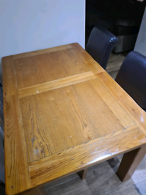 Harveys table and 4x real leather chairs for sale