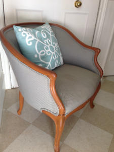 Beautiful Antique Blue/Green Upholstered Chair, sturdy and comfy