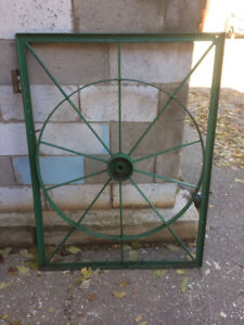 Green Garden Gate made from old wagon wheel