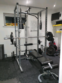 Gym equipment and weights.