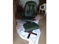 Leather chair and footstool
