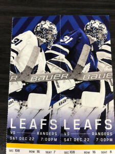 Toronto Maple Leafs Vs New York Rangers Sat Dec 22nd GOLDS