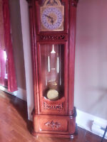 Traditional Cherry Floor Grandfather Clock, almost new