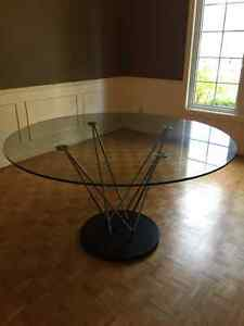 Elegant Glass Dining Room Table