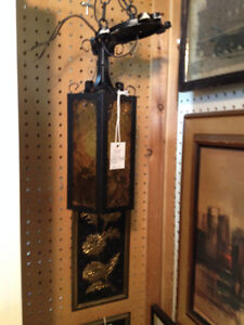 Vintage Gothic style pendant light with amber glass