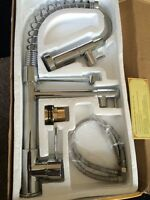 Chrome finished pull out kitchen faucet