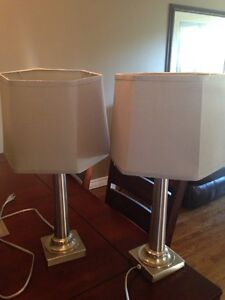 Two stainless lamps grey shades