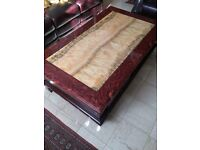 Large antique marble wood coffee table